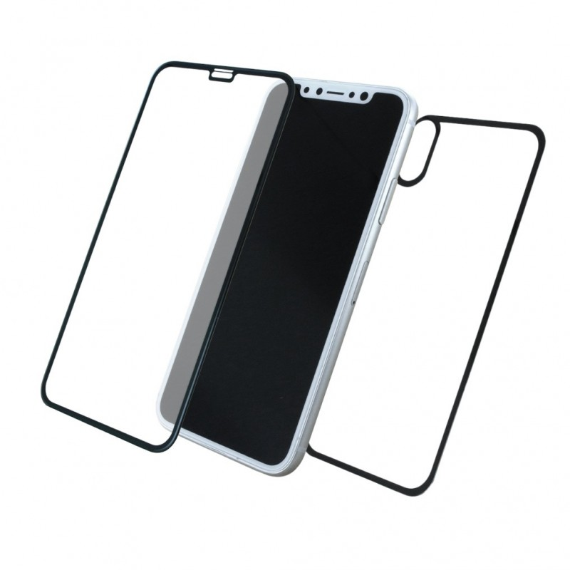 huge selection of a2745 6a651 Front + Back Apple iPhone X 5D Tempered Glass Screen Guard Black