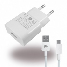 Huawei, HW-050100E01, Charger / Adapter + MicroUSB Cable, 1000mA, White