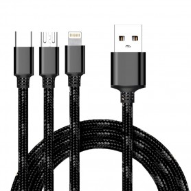 Cyoo, 2in1 USB Charging + Data Cable, MicroUSB, USB Type C and Lightning, Black, CY120171