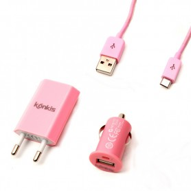 Vento Travel 3in1 Combo Charger for MicroUSB Pink, 150030MICKPI