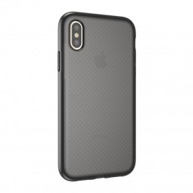 Cyoo Dot Back Silicone Cover / Case Apple iPhone XS Max Transparent / Black