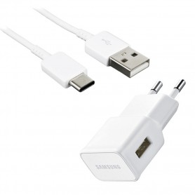 Samsung, EP-TA50EWE, Fast Charger + USB Cable to USB Type C Cable, White