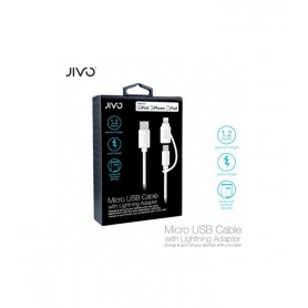 Jivo 2in1 Charging + Data Cable USB to MicroUSB and USB Lightning White