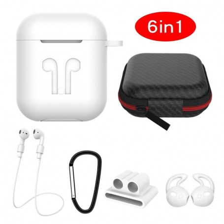 Cyoo 6in1 Silicone Cover with Accessory White Apple AirPods