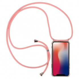 Cyoo Necklace Case + Necklace Huawei P30- Pink Silicone Case