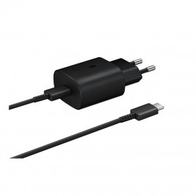 Samsung, EP-TA800, Carregador Rápido + Cabo, USB Tipo C, 25W, Preto, Original, EP-TA800XBEGWW