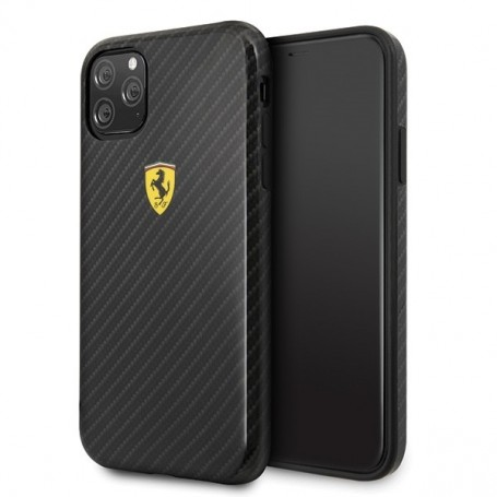 Ferrari, On Track, Apple iPhone 11 Pro Max, Black, Carbon Effect, Cover, FESPCHCN65CBBK