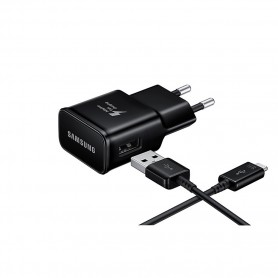 Samsung, EP-TA20EBE, Carregador USB + Cabo USB Tipo C, Preto, Original, EP-TA20EBECGWW