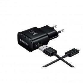 Samsung, EP-TA20EBE, USB Charger + USB Type C Cable, Black, EP-TA20EBECGWW