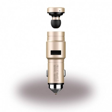 Baseus CCBKER-OV Bluetooth Headset + Car Charger Gold