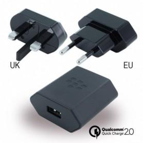 BlackBerry Carregador de Viagem + EU Clip + UK Clip + NA Clip, Preto, Original, RC-1500