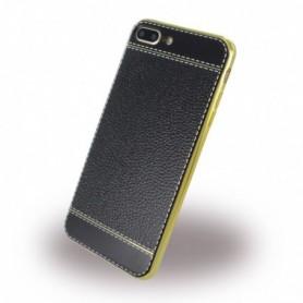 UreParts, Leatherette Cover / Case, Apple iPhone 7 Plus, 8 Plus, Black / Gold, 160441
