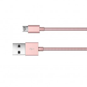 Just Wireless 1.8m MicroUSB Charge and Sync Braided Cable in Rose Gold, 6525